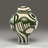tall lidded vessel with green circles by ralph bacerra