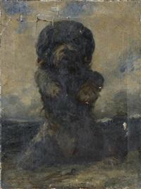 portrait d'un chien faisant le beau by edouard armand-dumaresq
