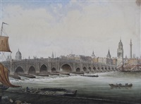 views of old london bridge in, upstream and downstream (pair) by william marlow