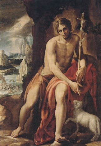 saint john the baptist in the wilderness the baptism of christ in the distance by orazio borgianni