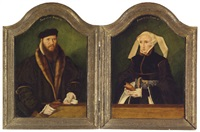 portrait of a gentleman in a fur-lined coat and portrait of a lady in a black dress and pearl encruste (diptych) by bartholomäus (barthel) bruyn the younger