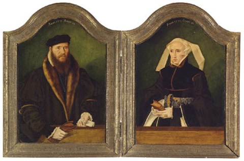 portrait of a gentleman in a fur lined coat and portrait of a lady in a black dress and pearl encruste diptych by bartholomäus barthel bruyn the younger