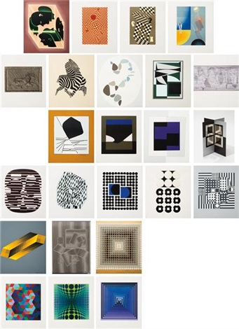 le discours de la méthode portfolio (set of 24) by victor vasarely