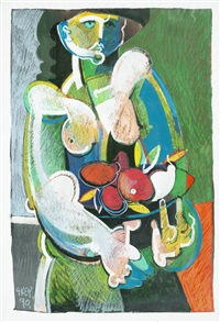 woman with bowl of fruit by geoffrey key