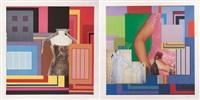 contamination 1, contamination 2, 2002 (2 works) by peter halley