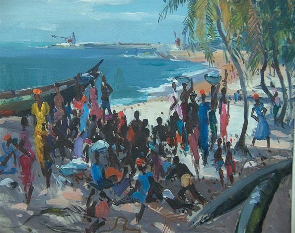 scène de plage africaniste by paul jean anderbouhr