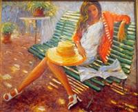 jeune fille sur un banc by claude fossoux