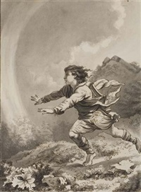 boy running in a landscape by w. p. de quincey