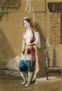 jeune femme à alger dans un intérieur by emmanuel joseph lauret