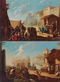 volkstreiben auf einem marktplatz (+ figures in a landscape; pair) by giovanni michele graneri