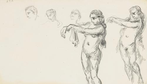 études d'une baigneuse s'essuyant et une cruche et tête de madame cézanne (recto-verso) by paul cézanne