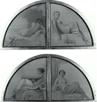 studies of muses: a set of four spandrel studies for a   public bath house by romain cazes