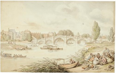 richmond bridge london by thomas rowlandson