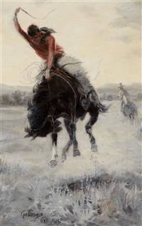 cowboy on a bronc by elling william gollings
