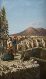 tre fanciulli in preghiera sullo sfondo di pompei by simone campanile