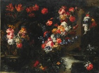an ornate still life with flowers in vases on a stone ledge by margherita caffi