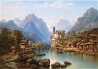 landschaftsmotiv mit reicher figürlicher staffage by henry jackel