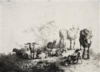die landschaft mit der herde und dem milchmädchen (after p. van laer) by jan van noordt