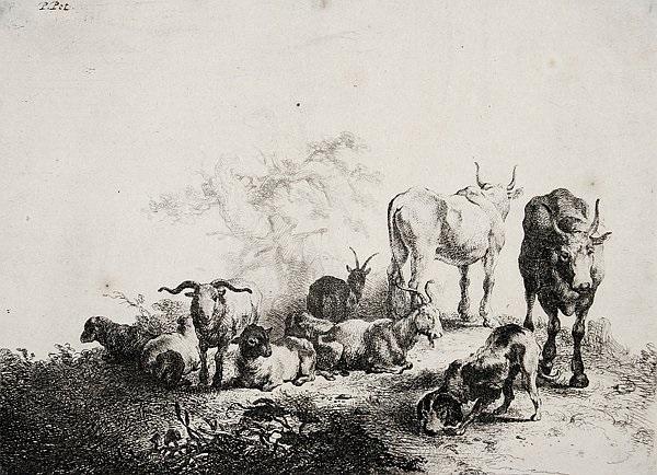 die landschaft mit der herde und dem milchmädchen after p van laer by jan van noordt