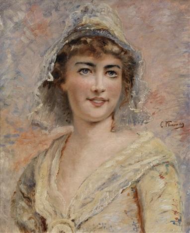 portrait of a young lady by konstantin egorovich makovsky