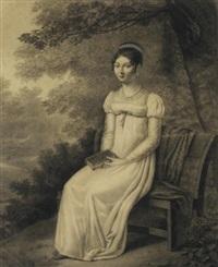 jeune femme assise sur un banc dans un paysage et tenant un livre dans les mains by jean jacques karpff