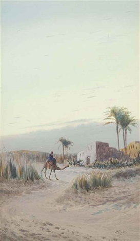 returning to an oasis settlement at dusk by otto tilsche