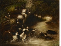 otterhounds in pursuit (pair) by edward armfield