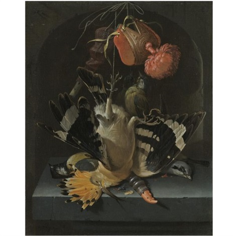 still life with a hoopoe a great tit a falconry hood and a decoy whistle all arranged within a stone niche by abraham mignon