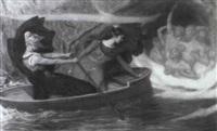 zwei frauen im ruderboot bei sturm vor einer h