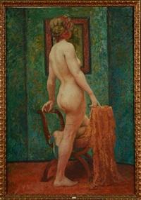 femme nue au miroir by emile baes