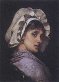 portrait de femme à la coiffe blanche by tony robert-fleury