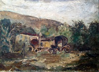 carriages at the foot of mount carmel by joseph kossonogi