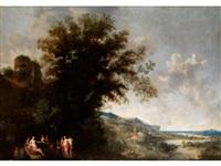 ideallandschaft mit antiker figurenstaffage by frans wouters