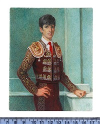 a toreador, wearing brown costume heavily embroidered with gold, silver and green stones by michael bartlett