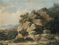landscape with figures by a fountain by fantosini