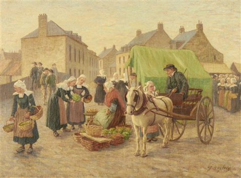 market in brittany by august vilhelm nikolaus hagborg