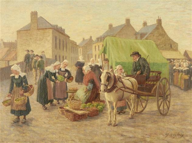 market in brittany by august vilhelm nikolaus hagborg