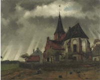 kerkje ten platteland - the church in persinge by eduard karsen