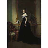 portrait of a lady in a black velvet dress by eugène accard