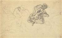 etude d'un homme terrassant un lion by eugène delacroix