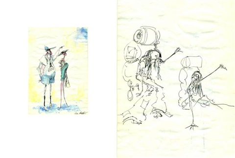 couple daméricains visitant paris couple dautostoppeurs sketch verso by tim burton