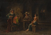 soldaten und mägde in der wirtsstube by wilhelm giessel