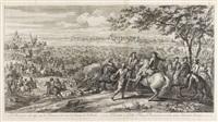 le rhin passé à la nage par les françois, à la veue de l'armée de hollande (after adam frans van der meulen) by charles louis simonneau the elder
