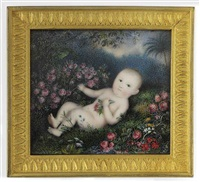 a baby, lying nude in a garden surrounded by flowers and trees by michaelo albanesi