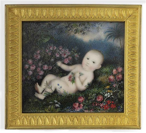 a baby lying nude in a garden surrounded by flowers and trees by michaelo albanesi