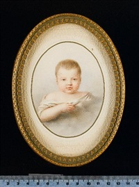 a baby wearing white dress in clouds by christian mathias adler