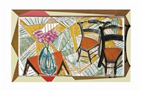 walking past two chairs, from moving focus by david hockney