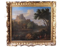 a classical landscape with fishermen and other figures by george lambert