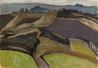 landscape with hills and houses by ian fleming