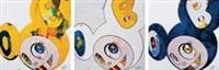 2013 and then, and then and then and then and then. yellow universe / and then and then and then and then and then and then(blue:the super flat method) / and then and then and then and then and then. yellow universe. (一组三件) by takashi murakami